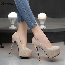 Золотистые туфли на высоком каблуке и платформе женские туфли-лодочки женская обувь вечерние свадебные туфли на высоком каблуке tacones mujer tacones plataforma