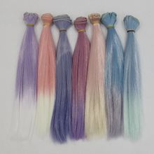 New 25cm Wholesales Gradient Color Straight  Hair/wigs For BJD for Blyth Dolls Diy Handmade Doll Trees Dolls DIY Accessories