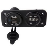 Hot Selling 1 PC New Dual USB 3.1A Charger + Voltmeter Panel Mount Marine 12V Motorcycle Outlet VE750 T50