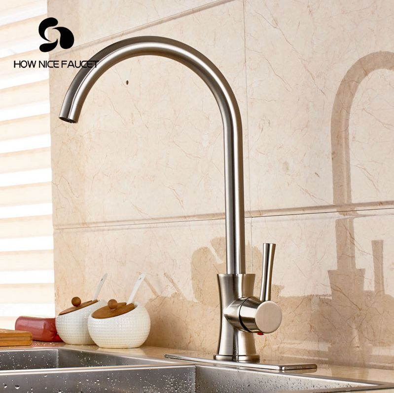 ФОТО Luxury Brushed Nickle Kitchen Sink Faucet Single Lever W/8