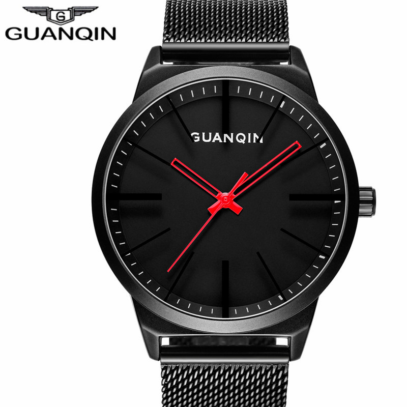 GUANQIN Fashion Mens Watches Male Clock Top Brand Luxury Men Casual Wristwatch Relogio Masculino Business Wrist Quartz Watch New oubaoer fashion top brand luxury men s watches men casual military business clock male clocks sport mechanical wrist watch men