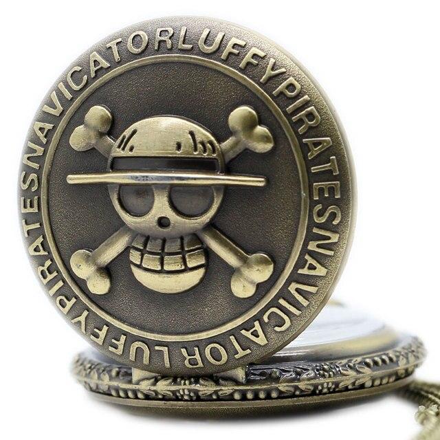 Vintage Bronze Pirate Skull One Piece Pocket Watch