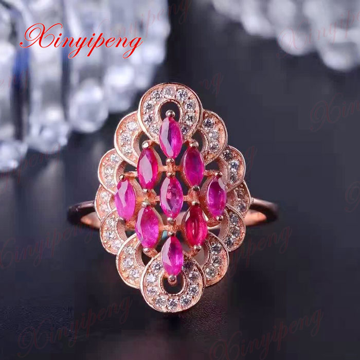 925 silver inlaid natural ruby ring women Luxurious wedding ring fine jewelry
