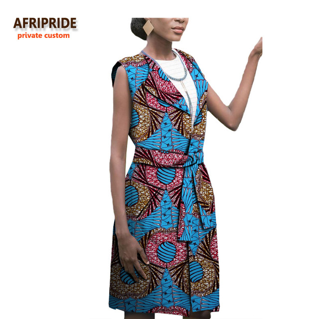 18 african women clothing AFRIPRIDE plus size Autumn New style long coat for women sleeveless long Windbreaker with belt A722414