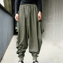 Японский стиль, S-5XL, Самурайские Мужские штаны с заниженным шаговым швом, свободные хлопковые шаровары, мешковатые спортивные штаны, хип-хоп танцевальные свободные штаны