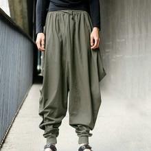Stile del giappone S-5XL Samurai Boho Cross-Pantaloni Gli Uomini di Goccia  Biforcazione c4582d9f4d23