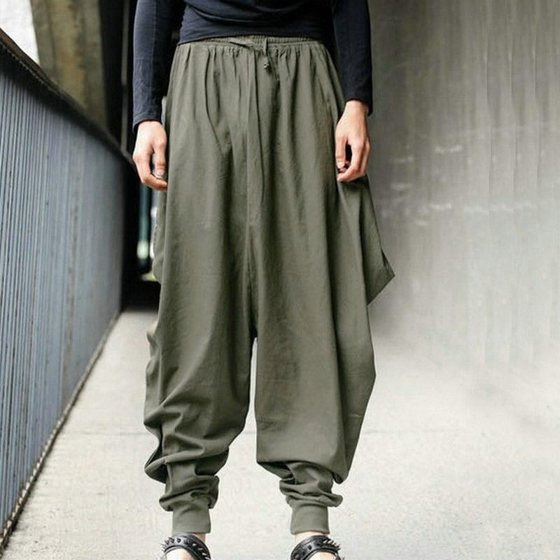 Mens Harem Baggy Cropped Pants Elastic Waist Japanese Style Drop Crotch Trousers