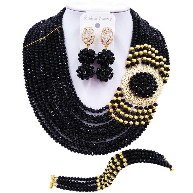 ACZUV noir africain perles collier nigérian mariage nuptiale fête bijoux ensembles 10C-DBPH006