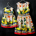 Brand European and American fashion print mother and daughter party sundress children Sleeveless skirts girls and mother dresses