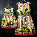Marca de moda de Europa y América imprimir madre e hija del partido vestido de tirantes Sin Mangas de los niños faldas de las muchachas y vestidos de la madre