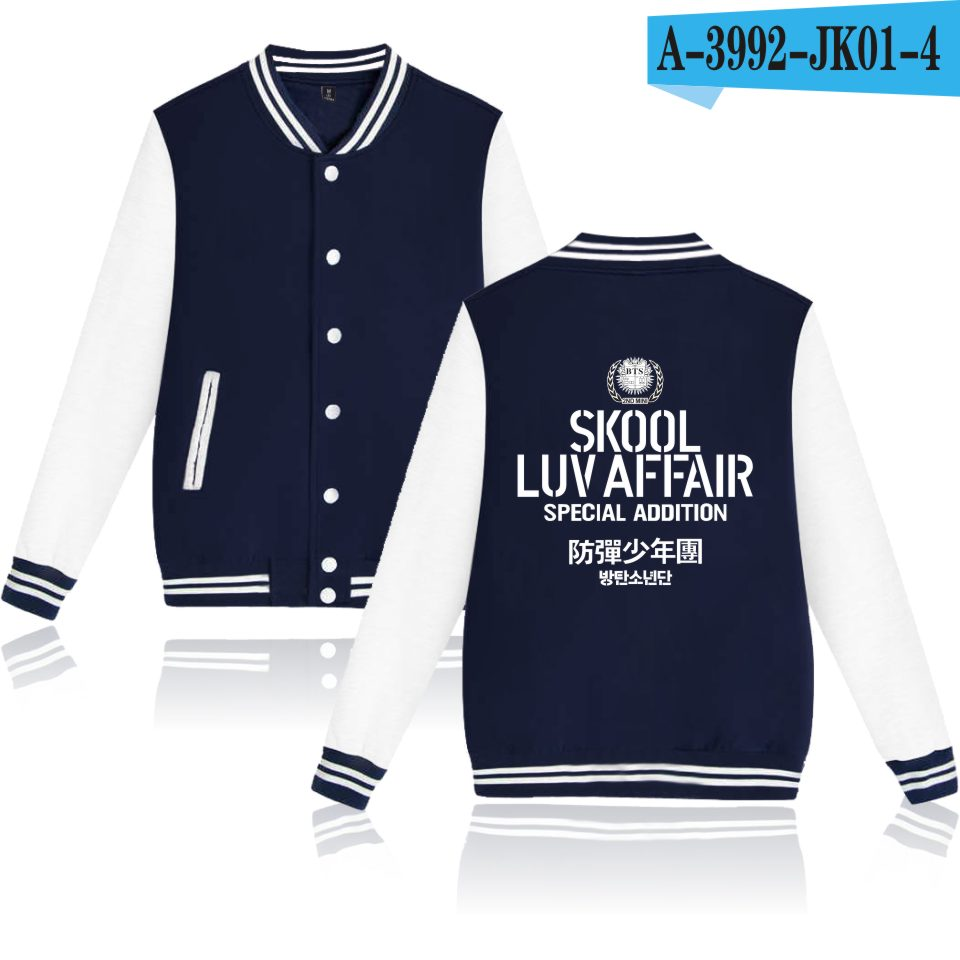 LUCKYFRIFAYF BTS Kpop Neue Baseball Jacke Frauen Hoodies Sweatshirts Bangtan Liebe Selbst Kpop Hoodies Frauen Hip Hop Jacken