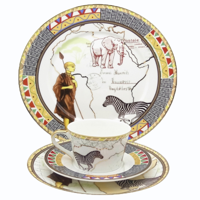 Luxury Egyptian Style Bone China Dinnerware Set Map Of Africa Animal Pattern Ceramics Steak Dinner Plates  sc 1 st  AliExpress.com & Luxury Egyptian Style Bone China Dinnerware Set Map Of Africa Animal ...