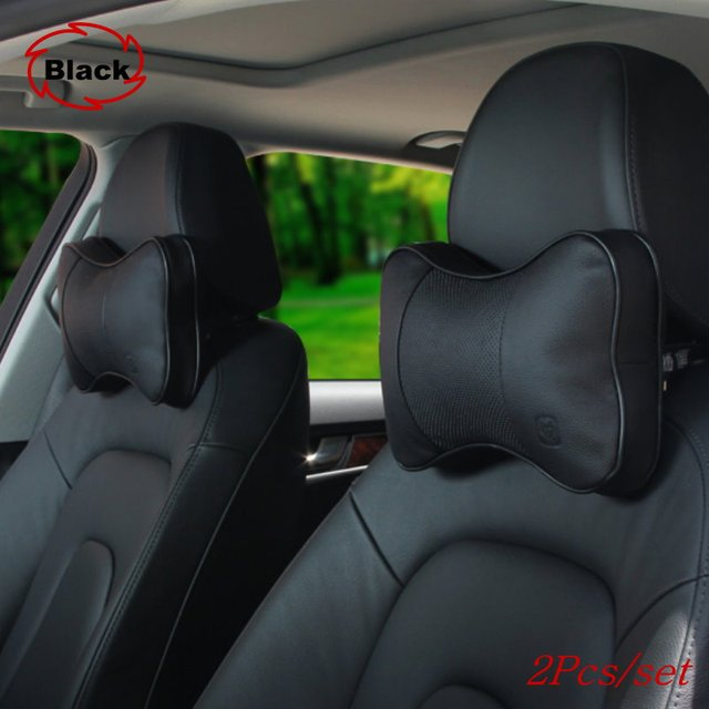 For AUDI For BMW Free shipping Car headrest / neck guard with leather / A pair of car cushion pillow bones / cowhide leather