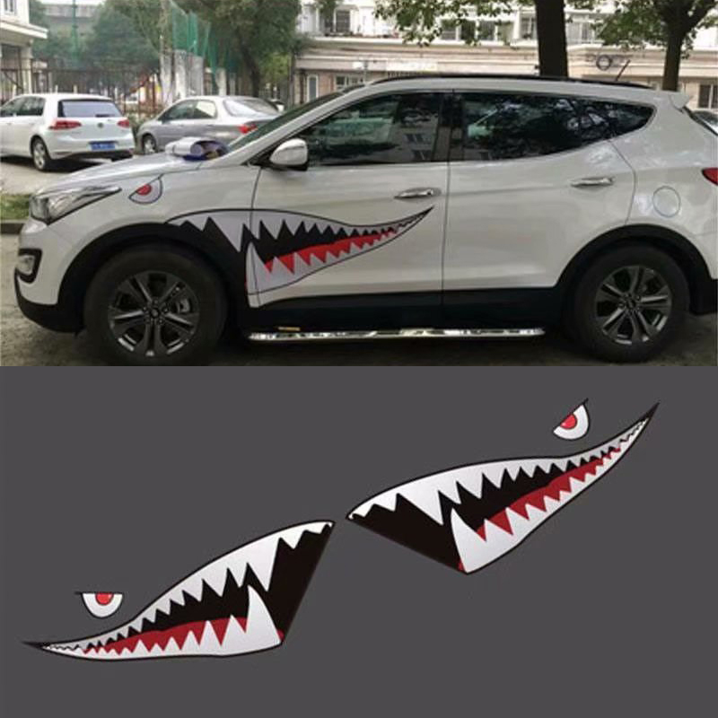 2x 59/'/'Shark Mouth Teeth Vinyl Refiting Sticker Decal  For Car Side Door Styling