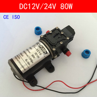 CE ISO Mini Electric Water Pump DC12V 24V 80W High Pressure Micro Diaphragm Water Pump Automatic Switch 6L/min Heavy Duty 3210