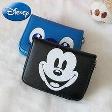 Cartera de cuero con estampado de ratón de Mickey de dibujos animados de Disney, bolsos de mano para mujer, moda femenina, tarjetero, monedero