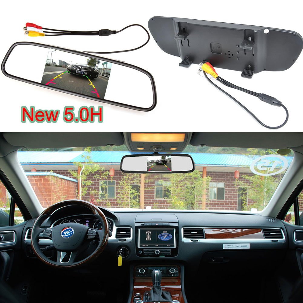 Car Auto Reverse Parking Rearview Mirror 5.0 Color Digital LCD Display Monitor For Car Parking System Rearview Backup Camera