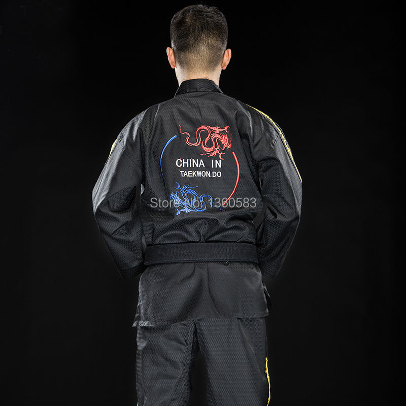 First sales High-end adult Taekwondo dobok cotten and bamboo fiber men women Taekwondo clothes WTF TKD clothes embroidery Dragon