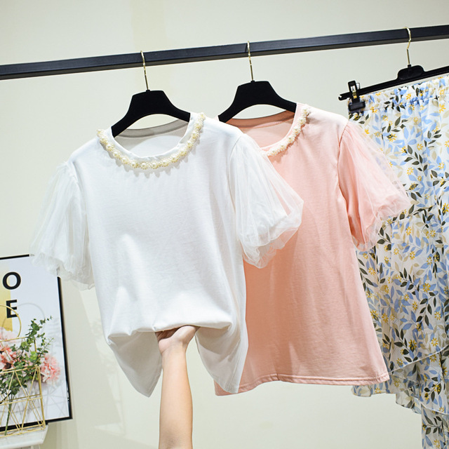 edition round collar fashion joker head summer pearl necklace to decorate show thin female T-shirt with short sleeves