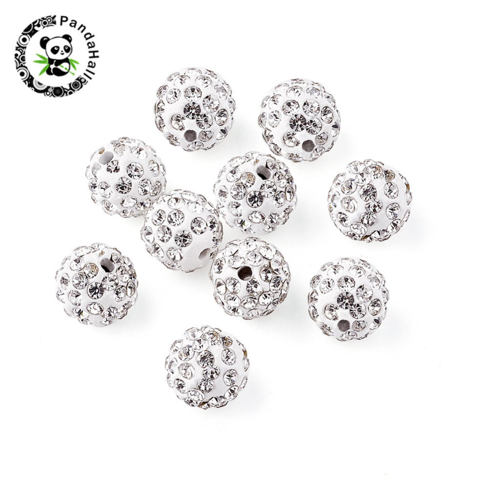 100pcs 10mm Round Pave Disco Ball Beads Polymer Clay