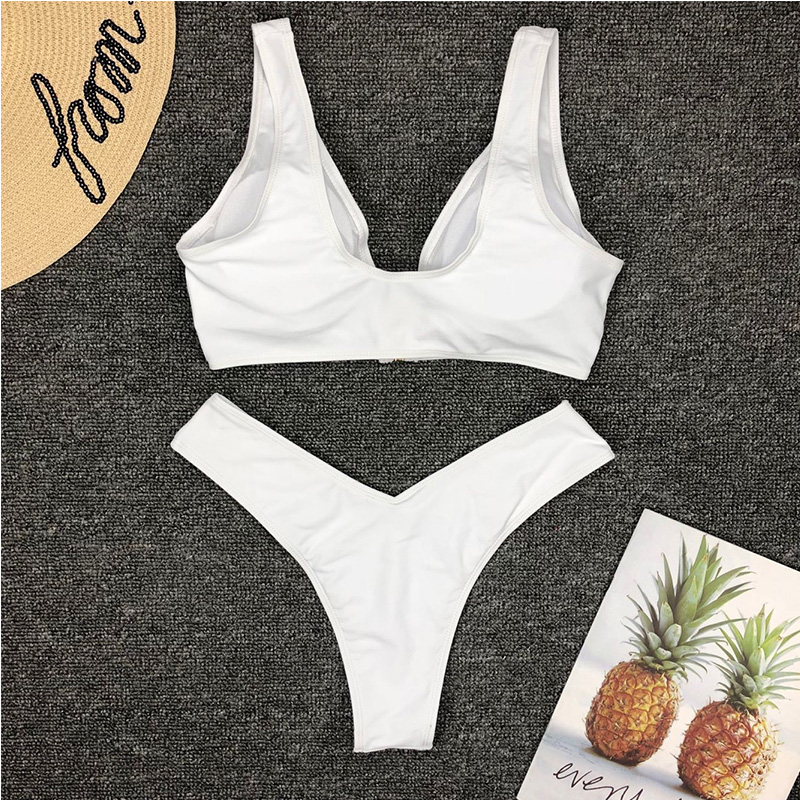 Women 39 s Swimsuit NEW split sexy bikini front zipper pure color small chest gathered without steel bracket swimsuit two sets in Bikinis Set from Sports amp Entertainment
