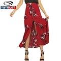 Las mujeres falda de verano 2017 casual botón frontal de hendidura falda larga playa de bohemia floral plisada dobladillo grande faldas saia feminina vestidos