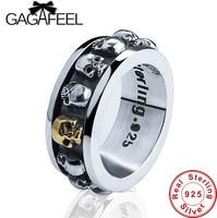 Новый 100% реальные Pure 925 Серебряное кольцо панк-стиль череп вращающийся кольцо тайский серебряный скелет Fine Jewelry больших размеров LHYR08