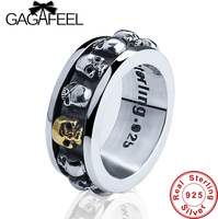 New 100 Real Pure 925 Sterling Silver Punk Skull Style Rotatable Ring Thai Silver Fine Jewelry