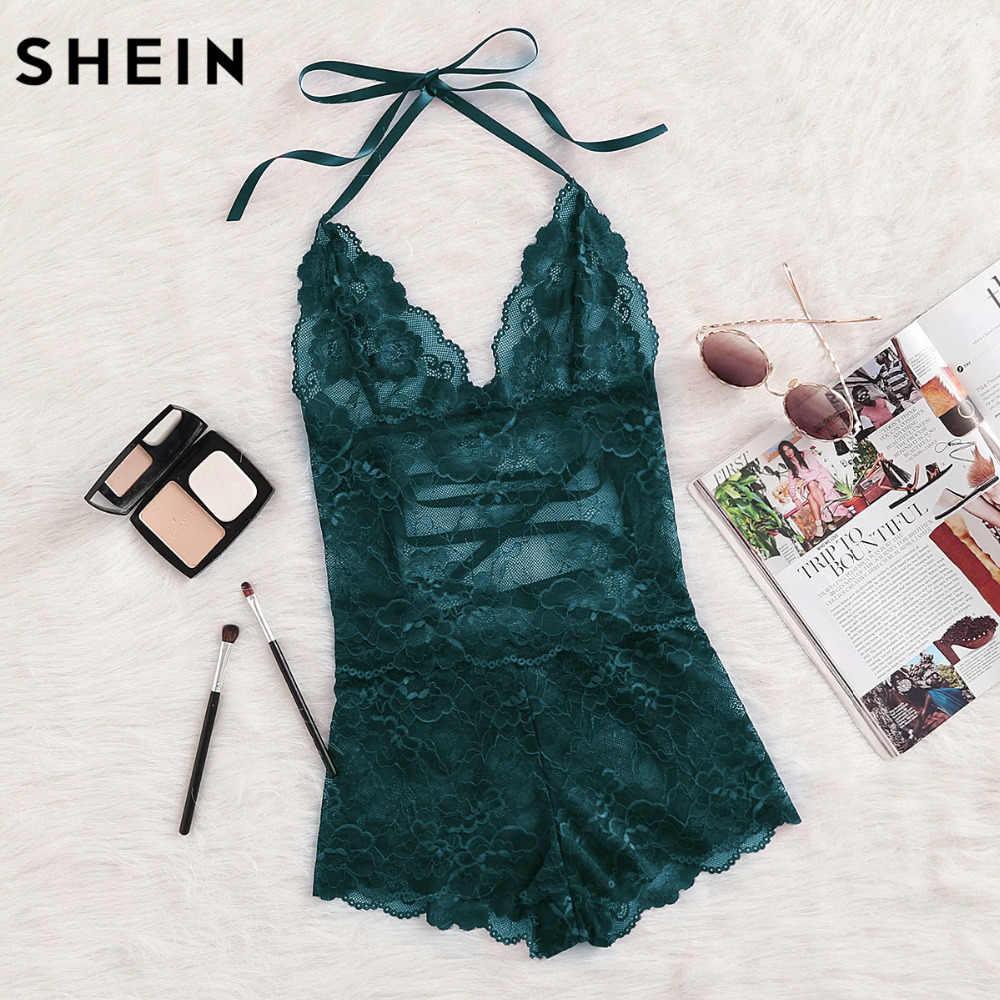 f5e76ae3ad SHEIN Onesie Women Sleepwear Green Tie Up Back Halter Neck Lace Sleep Romper  Backless Lace Up