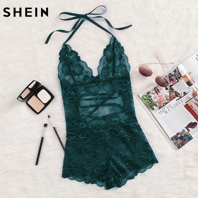 2825f115375 SHEIN Onesie Women Sleepwear Green Tie Up Back Halter Neck Lace Sleep Romper  Backless Lace Up Sexy Womens Onesies