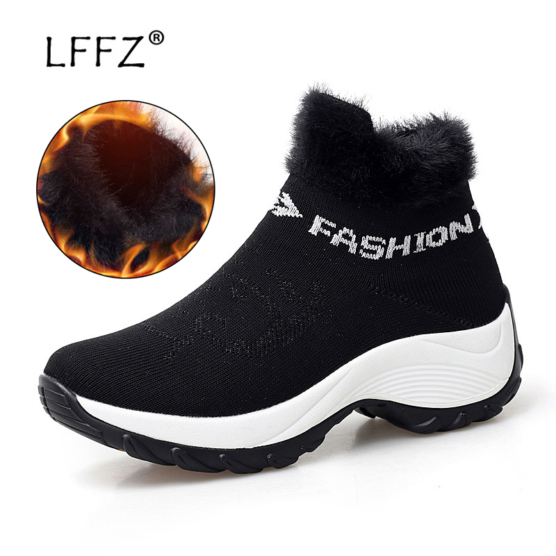 LFFZ Winter New Fashion Women Snow Boots 35 42 Big Size Shoes Warm Plush  Insole Ankle Boots Swing Outsole Non slip Sneaker Women-in Ankle Boots from  Shoes ... 7350a8fdb823