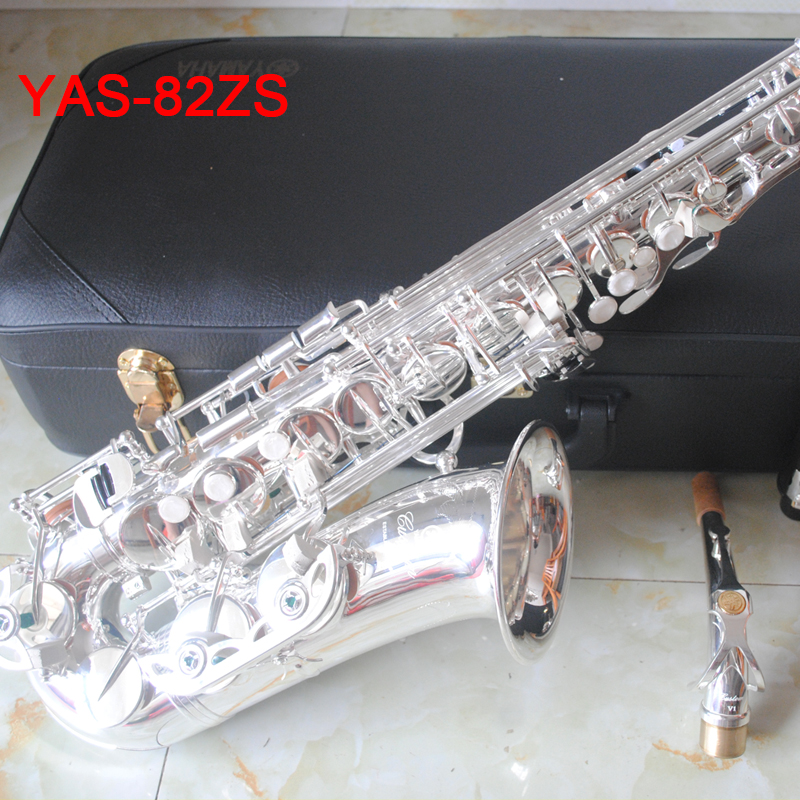 100% Original Japan YAS 82z Alto Saxophone Silver 82ZS Alto Sax Silvering Professional Top performance Mouthpiece Accessories new 2017 senior french brand conn selmer black lacquer alto saxophone e as 710 matt encarved alto sax with mouthpiece