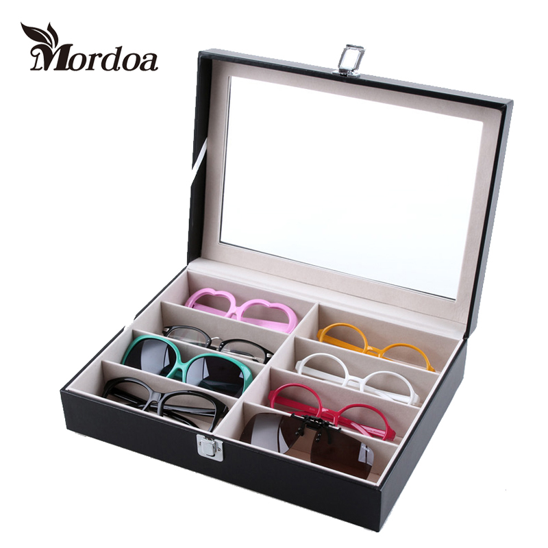 Mordoa 1 Gifts for Free!Deluxe 8 Slot Sunglasses / Eyeglasses / 3D Glasses Black Display Case Watch Jewelry Organizer Box