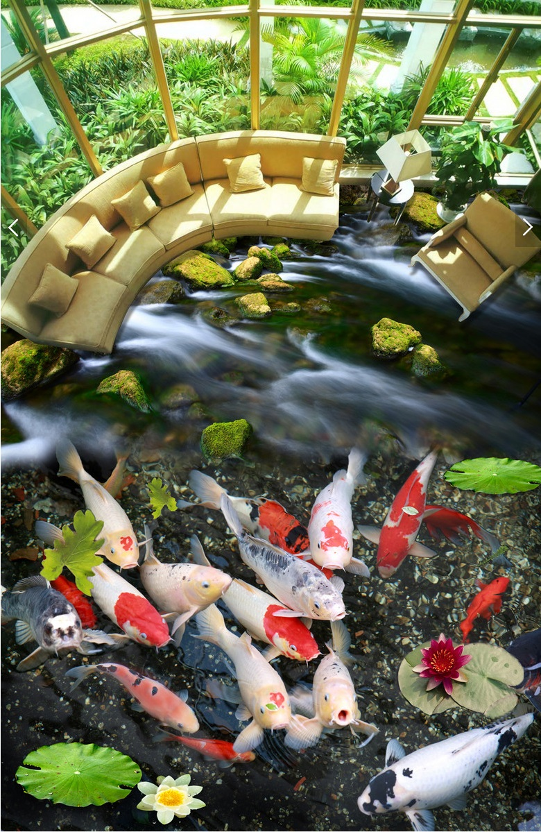 US $24 34 OFF Kustom Mural 3d Lantai Gambar Pvc Diri Perekat Wallpaper Sungai Ikan Mas Dekorasi Lukisan 3d Dinding Mural Wallpaper 3d Wall