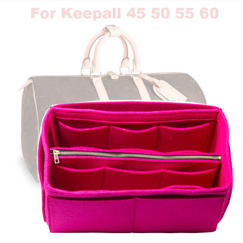 Fits Keepall 45 50 55 60 Insert Organizer Purse Handbag Bag In Bag-3MM Premium Felt(Handmade/20 Colors)w/Detachable Zip Pocket