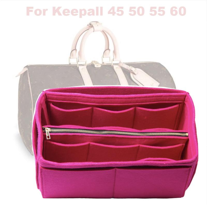 Fits Keepall 45 50 55 60 Insert Organizer Purse Handbag Bag In Bag-3MM Premium Felt(Handmade/20 Colors)w/Detachable Zip Pocket