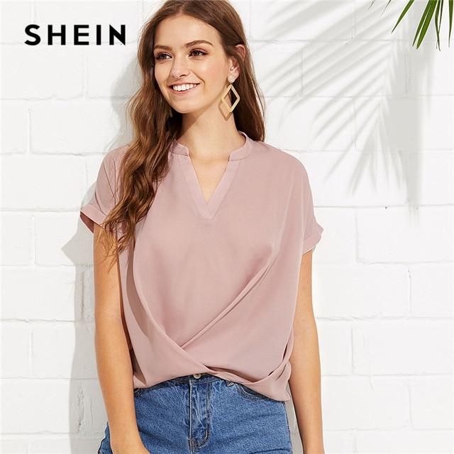 Шеин розовый элегантный спецодежды драпированные V шеи стенд воротник с коротким рукавом твердого блузка летние женские выходные Повседневная рубашка Топ