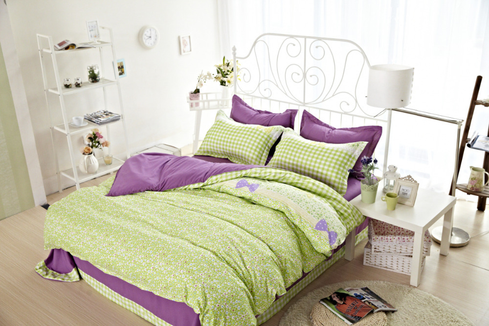 4pcs Full Twin Size Girls Comforter Sets Bedding Catalogs Lime