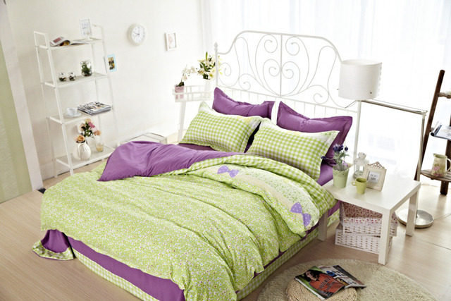 4PCS Full Twin Size Girls Comforter Sets Bedding Catalogs Lime Green Best Sheets To Buy