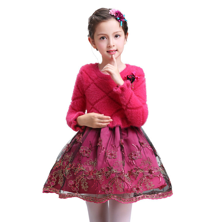 Warm Girl Dress Christmas Wedding Party Dresses Knitted Mesh embroidery Winter Kids Girls Clothes Children CLothing Girl Dress korea lace knitted sweaters warm dresses winter baby wear clothes girls clothing sets children dress child clothing kids costume