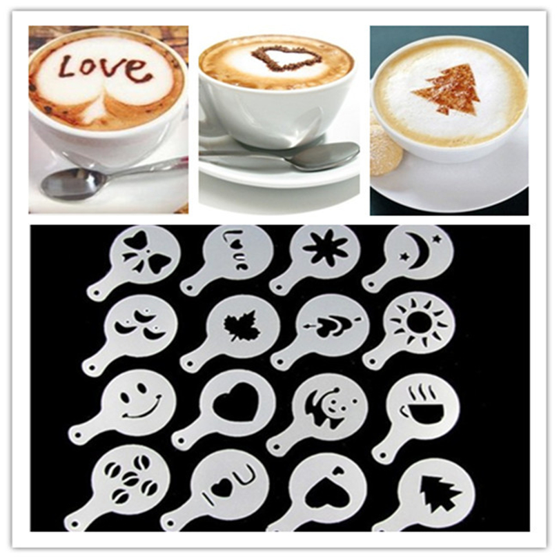 Duster Spray-Tools Decoration Strew-Pad Barista Different-Design Cupcake Template Stencils