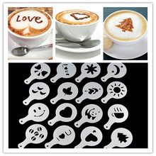 16Pcs/Pack Coffee Mold Different Design Milk Cake Cupcake Decoration Barista Stencils Template Strew Pad Duster Spray Tools(China)