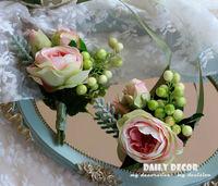 2 sztuk Las Styl Sztuczne rose bridal/Druhna strony/wrist kwiaty & wedding bride/groom corsages/boutonnieres