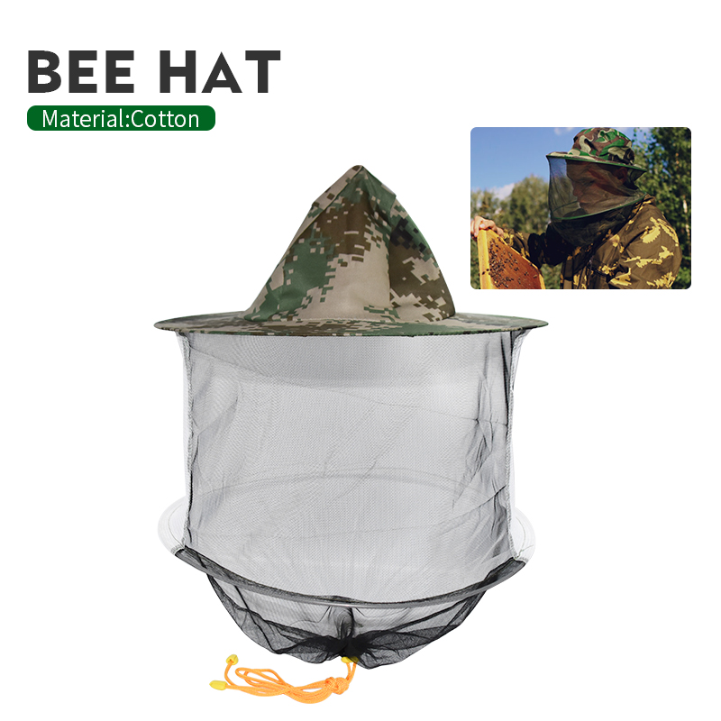 Beekeeping Camouflage Hat Mosquito Bee Insect Net Veil Hat Face Head Neck Wrap Protector Beekeeping Tools