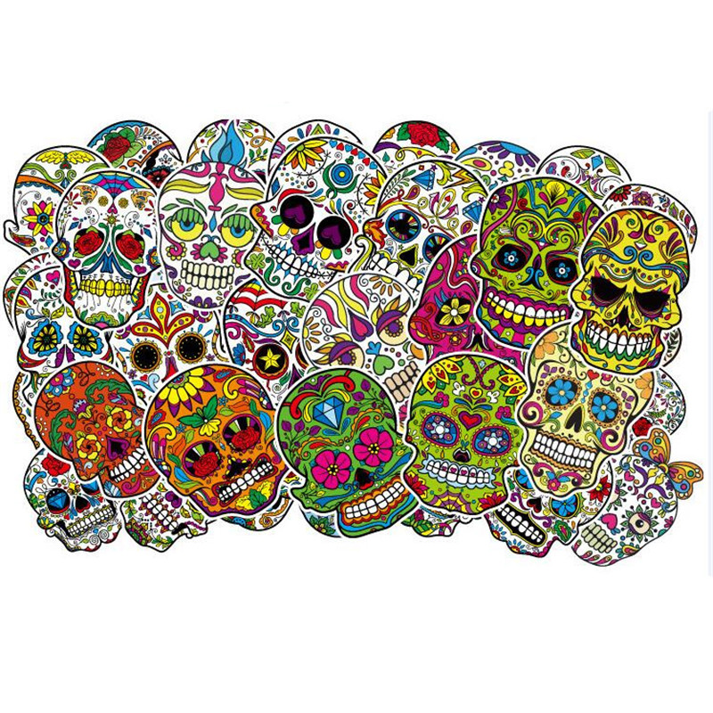 50 Pcs/lot No Repeat Waterproof Skull Head with Cool Flower Sticker Fancy Kids Adult Toys for Laptop Skateboard Luggage Guitar50 Pcs/lot No Repeat Waterproof Skull Head with Cool Flower Sticker Fancy Kids Adult Toys for Laptop Skateboard Luggage Guitar