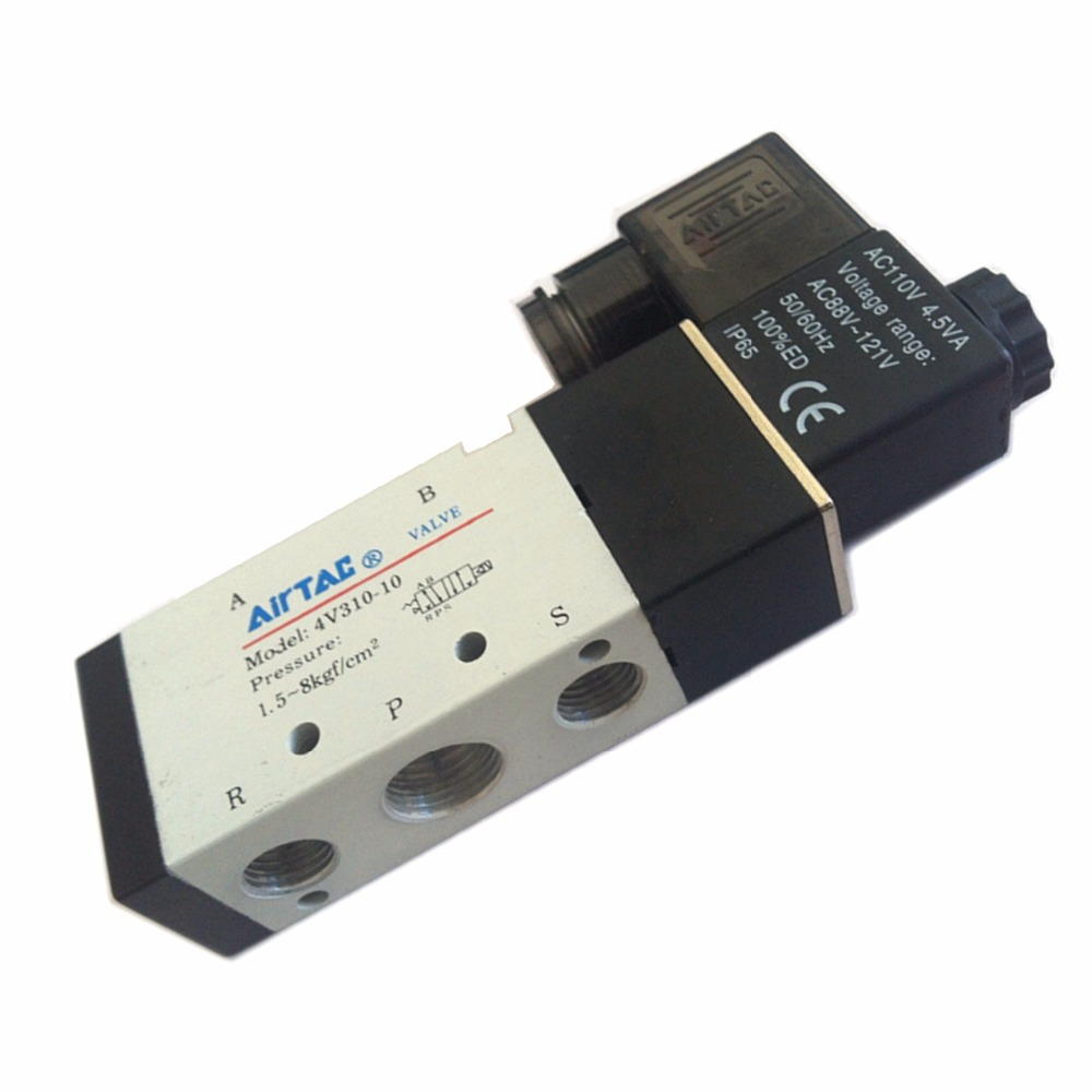 4V310-10 5 Ports 2 Position Single Solenoid Pneumatic Air Valve 3/8 BSPT AC/DC high quality ac 220v 4v310 10 2 position 5 way air solenoid valve free shipping