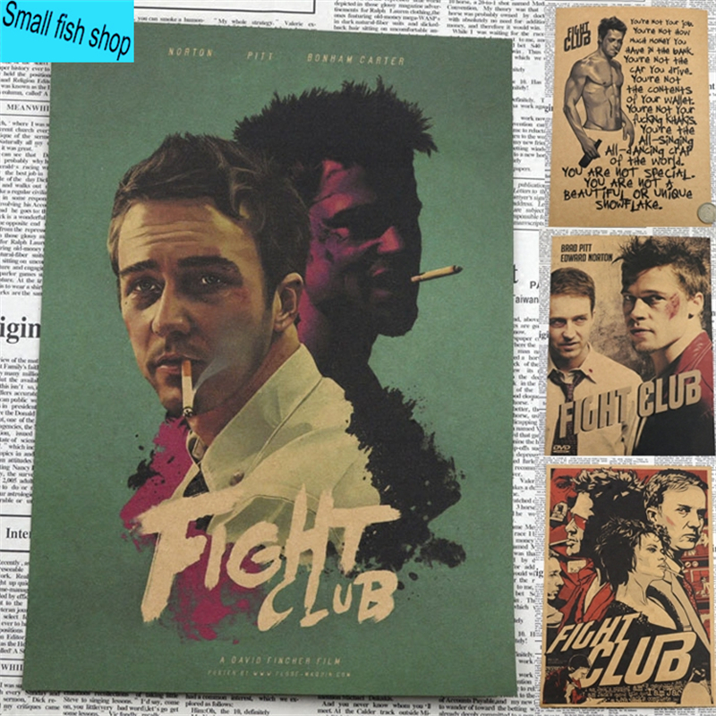 Fight Club Brad Pitt Movie Poster Home Furnishing decoration Kraft Movie Poster Drawing core Wall sticker