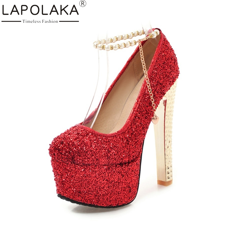 LAPOLAKA 2018 Fashion Large Size 33-48 Ankle Strap Platform Pumps Woman Shoes Thin High Heels Party Wedding Pumps lapolaka 2018 high quality large size 33 48 slip on thin high heels peep toe shoes woman platform party wedding pump