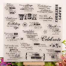DIY decorative celebrate words scrapbooking silicone stamp wish birthday theme