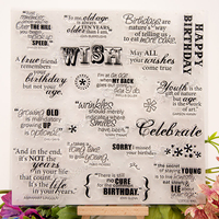 DIY Decorative Celebrate Words Scrapbooking Silicone Stamp Wish Birthday Theme